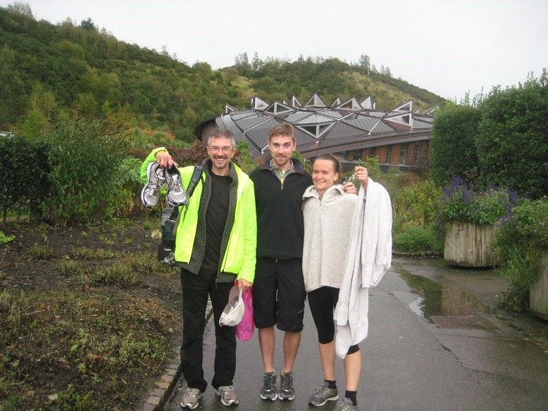 Me, Bailey and Hetty after half marathon at Eden Project