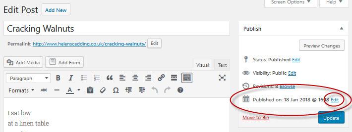 WordPress - edit date post published