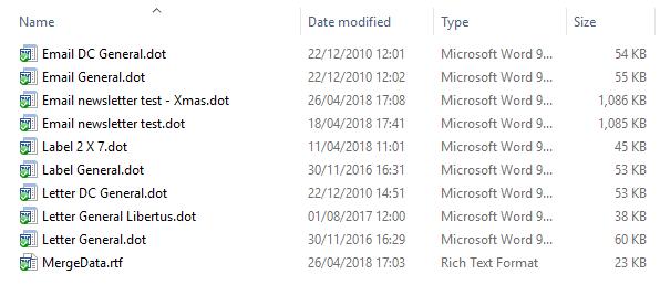 careLINK files mail merge folder