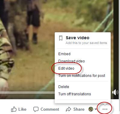 facebook - Edit video