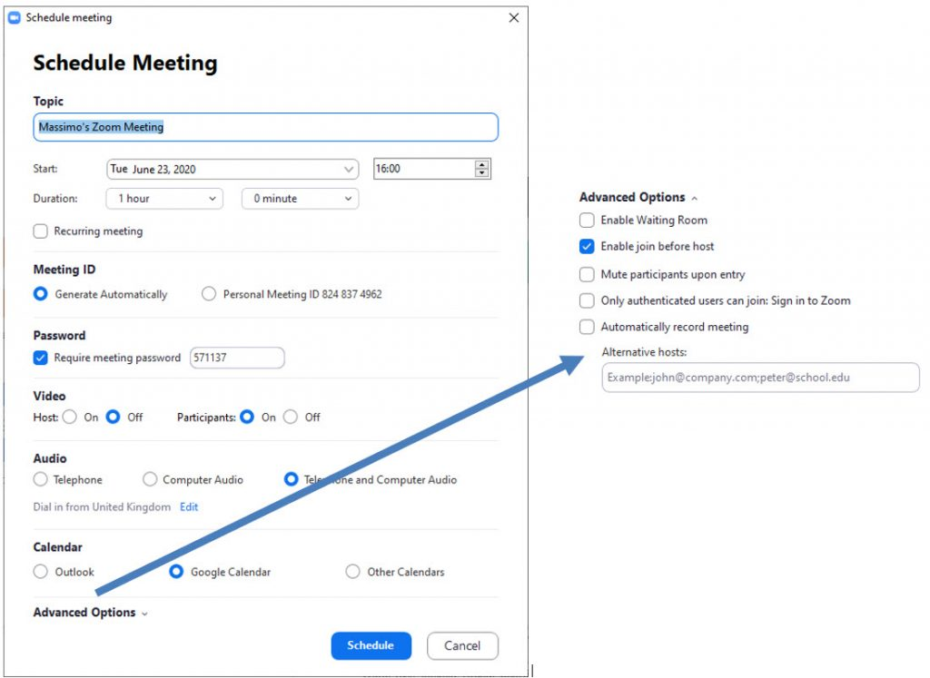 General - zoom schedule a meeting from app
