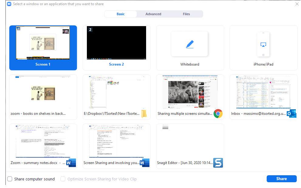 Screen share screens