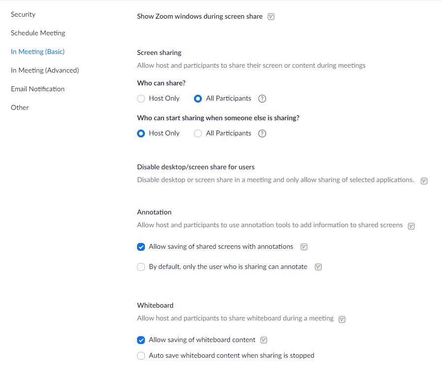 screen share settings