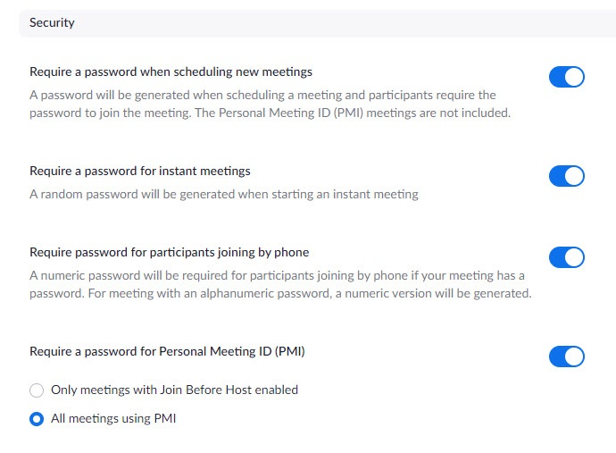 user security options - password settings