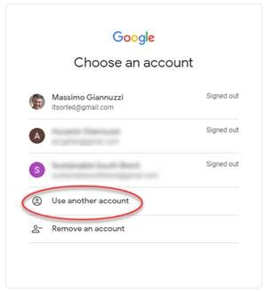 Google screen - sign in - choose account