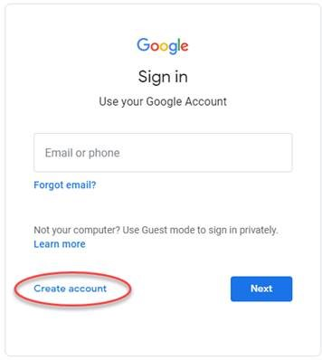 Google screen - sign in - create account btn