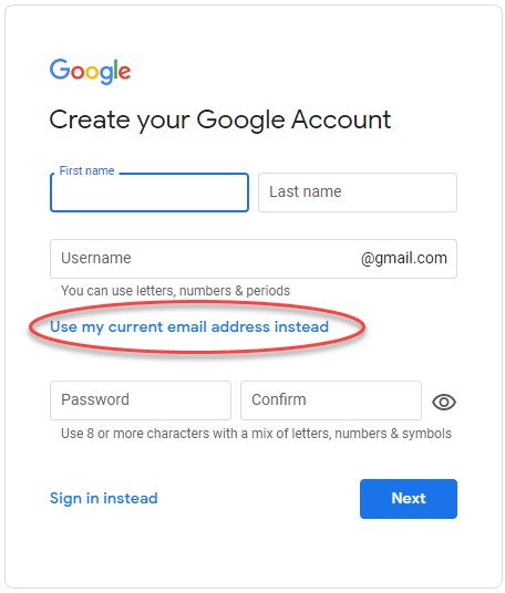 Google screen - sign in - create account - use current email