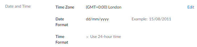 General - settings from web - Date and Time