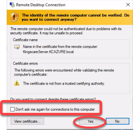 Kingscare Warning b Certificate not from a trusted source