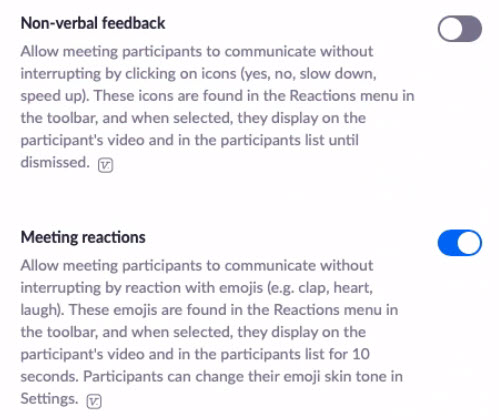 Zoom Nonverbal feedback and Reactions settings
