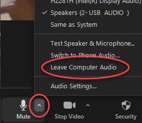 zoom - laptop - leave computer audio