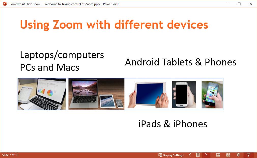 PowerPoint slideshow in Window view