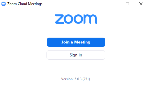 Zoom home page - with no account - not signed in