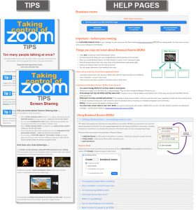 Zoom help pages and tips