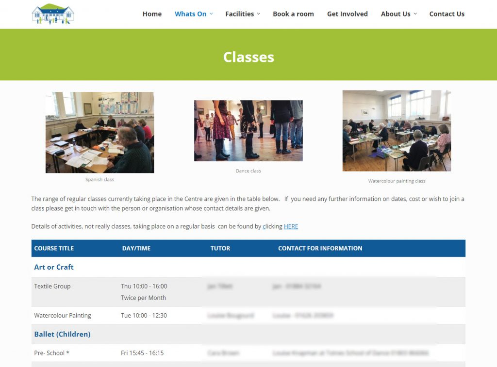 ITsorted Website design - Old School Community Centre - Classes